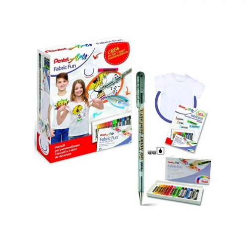 Pentel Arts dečiji set Creative majica+boje za tekstil+šabloni 4016284338322